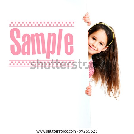 nice girl beside a white blank with sample text - stock photo