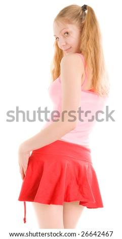 Nice girl in skirt looking back - stock photo