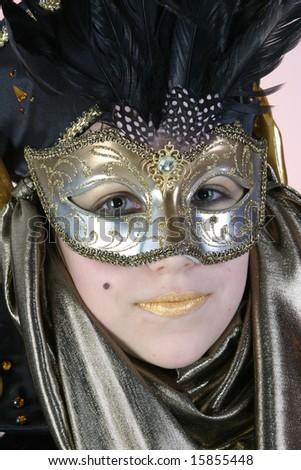 Nice girl in venetian costume No.1 - stock photo