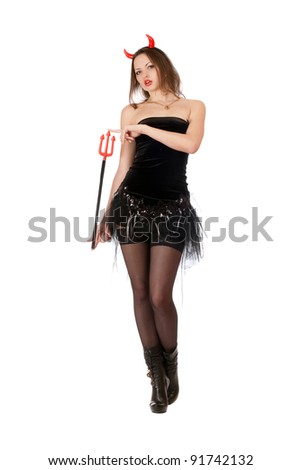 Nice girl is wearing a sexy devil costume - stock photo