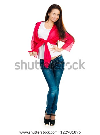 nice girl looking at the camera on a white background - stock photo