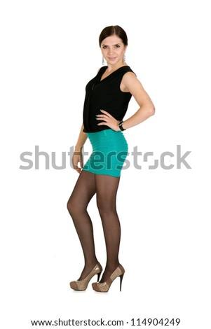 nice girl posing on light background - stock photo