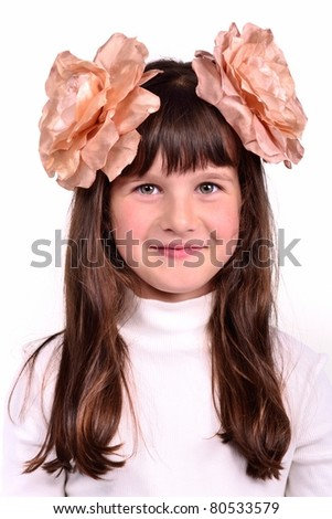 nice girl with bows portrait isolated on white background - stock photo