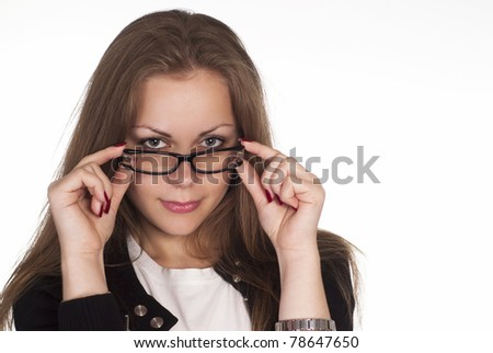 nice girl with glasses on a white