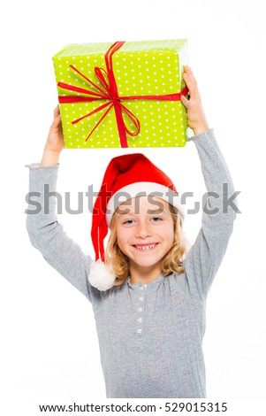 nice girl with Santa- cap and present