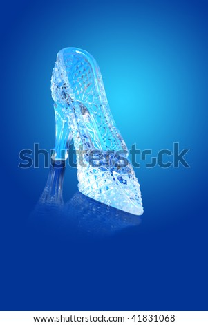 Nice glass slipper isolated on gradient blue background - stock photo
