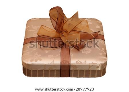 nice golden box as a gift - stock photo
