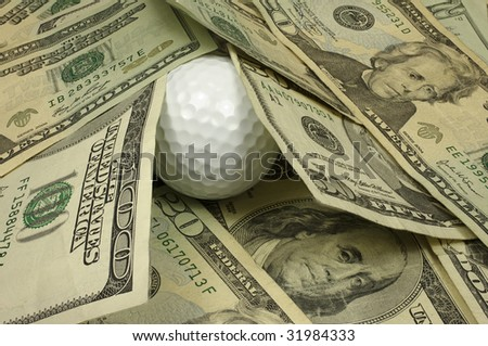 Nice golf ball lie. All in focus. - stock photo