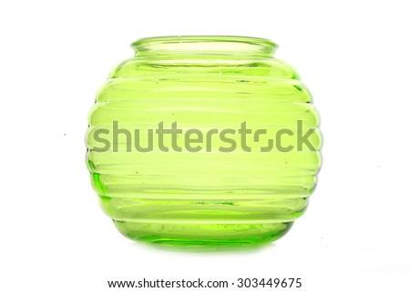 Nice green glass vase on white background - stock photo