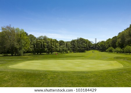 Nice green Golf Course with Flag and hole in the summer.