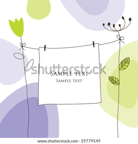 Nice Greeting card - template Cute simple Artistic hand drawn illustration - doodle For baby shower, greetings, invitation, mother's day, birthday, party, wedding, scrapbook - stock photo