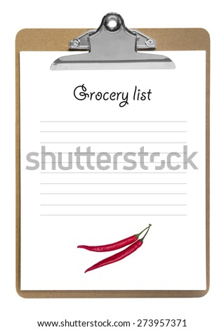 nice grocery list on a blank clipboard - stock photo