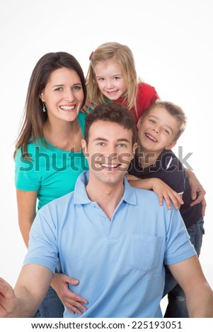 nice group laughing and posing happily - stock photo