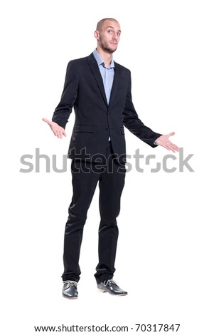 nice guy does not understand the question - stock photo