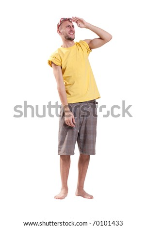 Nice guy squinting in the sun - stock photo