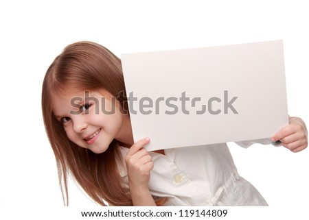 Nice hair little girl with white banner looking at camera/little girl with light blank - stock photo