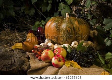 nice halloween attributes (pumpkin, vegetables and fruits) on the stump in the evening - stock photo