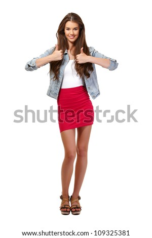 nice happy woman posing on white background - stock photo