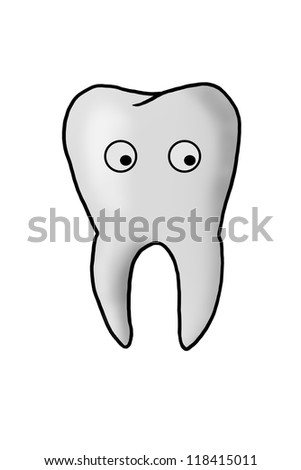 Nice healthy tooth, health and hygiene. hand-drawn. isolated on white - stock photo