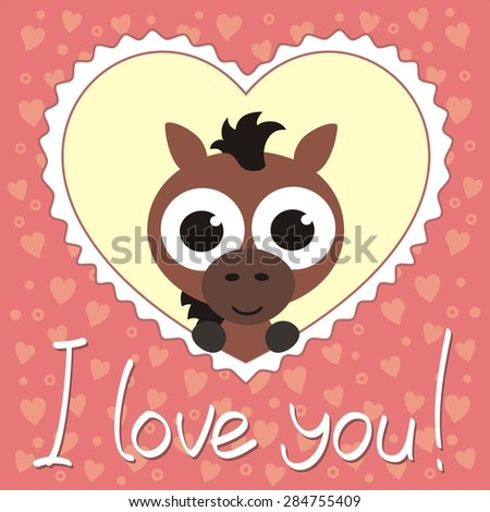 nice horse in heart, i love you, valentines day