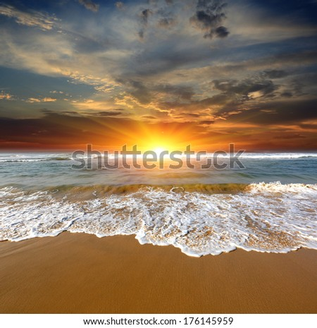 nice hot sunset over sea - stock photo