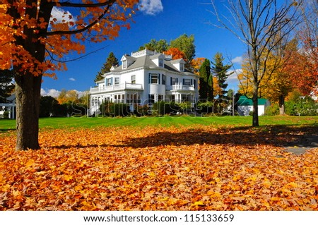 Nice house in Derby Line, Vermont, USA - stock photo
