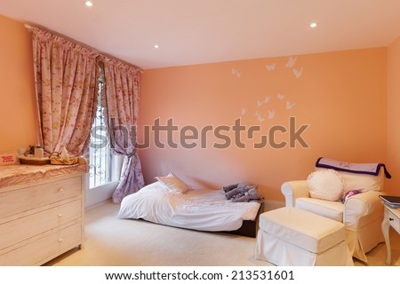 Nice house interior, comfortable bedroom - stock photo