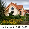 NICE HOUSE WITH THE GARDEN II - stock photo