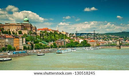 Nice houses in Budapest city - stock photo