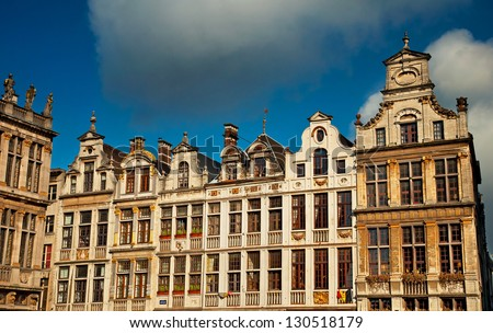 Nice houses in the Grand Place, Brussels, Belgium.
