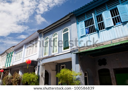 Nice houses in the old town of Thailand