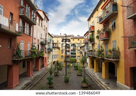 Nice houses in the old town of the city - stock photo