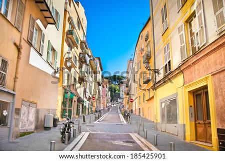 Nice houses in the old town of the city, France. - stock photo