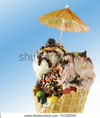 Nice ice cream on gradient blue to white background