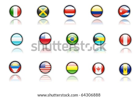 Nice icons of american flags - stock photo