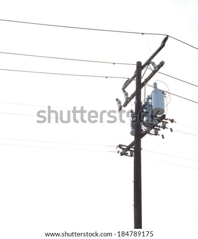 Nice Image of a Isolated Power pole with Powerlines and transformers - stock photo