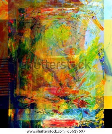 Nice Image of a large scale Abstract Painting - stock photo