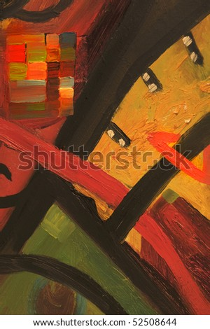 Nice Image of a large scale Abstract painting on canvas - stock photo
