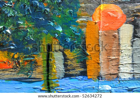 Nice Image of a large scale Oil painting on canvas - stock photo
