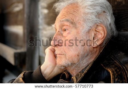 Nice Image Of a senior man contemplating His Life - stock photo