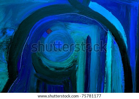 Nice Image of a very Large scale Original Oil Painting - stock photo