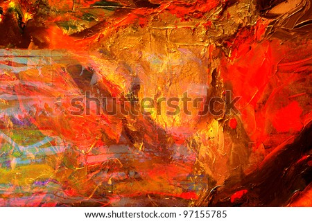 Nice Image of an original Abstract Oil painting on canvas - stock photo