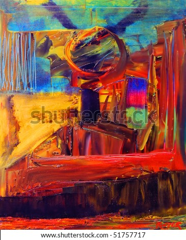Nice Image of an original Abstract painting On Canvas - stock photo