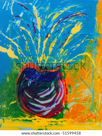Nice Image Of an Original Abstract Painting On Glass - stock photo