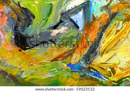 Nice image of an Original Oil painting on Canvas - stock photo