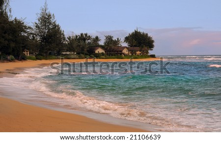 Nice image of the Kauai Coastline with Houses - stock photo