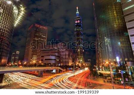 Nice intersection view of Taipei city, Taiwan - stock photo