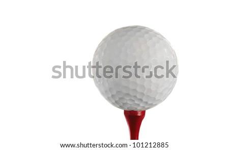 Nice Isolated Golf ball On a tee - stock photo