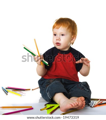 Nice  kid with color pencils