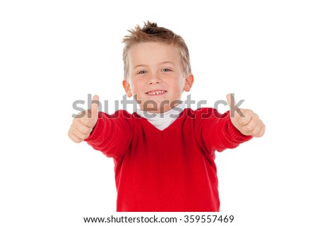 Nice kid with the thumbs up isolated on a white background - stock photo